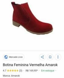 3f5bf1f50e Botina Amarok n37 vermelha feminina Usada de couro legítimo