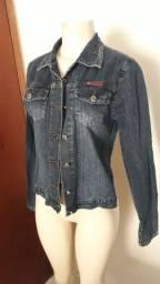 Jaqueta jeans preta bordada M