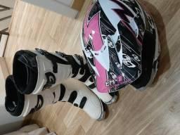 Bota Motocross feminina 38 + capacete