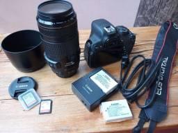 Câmera Canon Rebel T5i usada + Lente Canon EF 70-300mm f/4-5.6mm IS usm usada