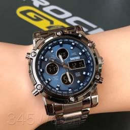 Dia dos pais, relógio Skmei em aço inoxidável prata, visor azul, Analógico e Digital