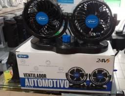 Ventilador Duplo Carro Caminhao Onibus 12/24v Portatil