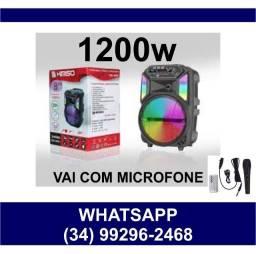 Caixa de Som 1200w Karokê c/ Microfone QS-4801 * Fazemos entregas