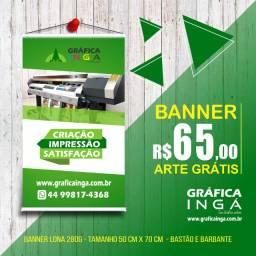 Banner em lona 50cm x 70 cm só R$ 65,00 Arte final grátis