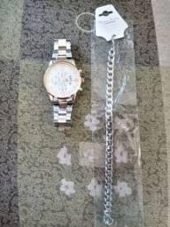 relogio rose gold  e prata masculino e feminino data e hora pulseira de brinde