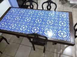 Mesa madeira maciça com azulejo português + 6 cadeiras