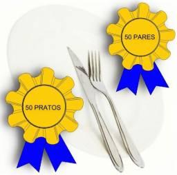 50 Prato Raso Cerâmica + 50 Par Talheres Restaurante