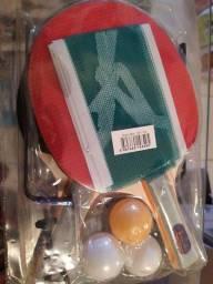 Kit completo e novo ping pong 2 raquetes rede 3bolas torrando