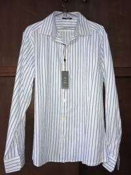 Camisa Social Diz Life & Clothes Importada Branca com Listras Azuis - Tamanho M ou G