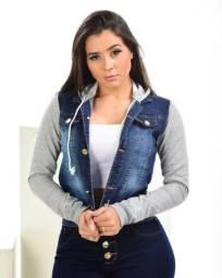 Jaqueta jeans moletom com capuz feminina