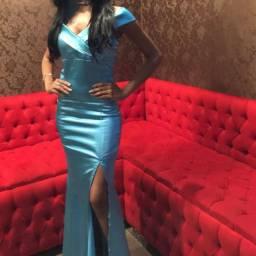 Vestido de festa azul tifanny