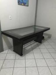 Mesa vidro com madeira grande