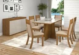 Conjunto de mesa firenza com 6 cadeiras Roma e buffet Florença L526
