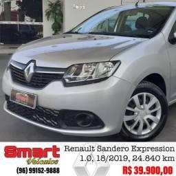 Smart Veículos - Renault Sandero Expression 1.0, CD, 18/2019, 24.840 km. R$ 39.900,00 - 2019