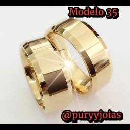 Aliança Ouro 18 Luxuosas