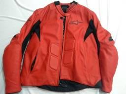 jaqueta em couro alpinestar vermelha original