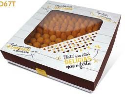 Linda caixa para doces ou salgados pacote com 10 unidades