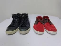 Tênis de couro preto e Sapatilha de camurça vermelha
