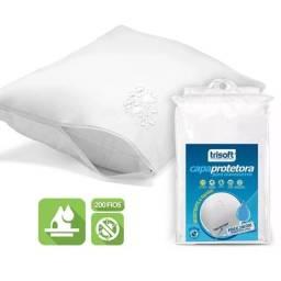Capa para travesseiro 100% algodão com zíper, impermeável 15,00