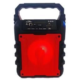 Caixa de Som Bluetooth Portátil D-S18 USB P2 P10 Vermelha
