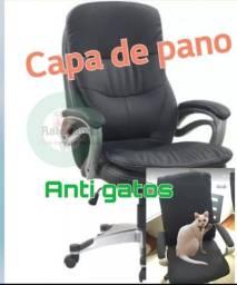 Capa pra cadeira de escritório anti gatos +par capinhas de braços