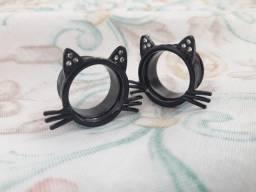 Alargador de orelha gato/gatinho preto 18mm