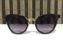 (Aceito cartão) Óculos solar unissex Modelo Gatinho - Lente: Preta - Proteção UV400