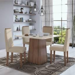 Título do anúncio: Sala de Jantar Nevada da Lopas com Tampo MDF/Vidro Branco - Entrega grátis p/ Fortaleza