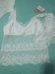 Conjunto lingerie camisete mais sobrecapa Diamantes