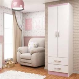 Guarda-Roupa Infantil  2 Portas e 2 Gavetas - Branco com Rosa - Evidência Móveis