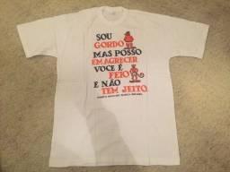 Camiseta Sou Gordo Mas Posso Emagrecer Lembrança Bahia Tamanho Gg Branca Nova!