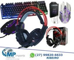 Kit Gamer Teclado Semi Mecânico Mouse Headset Modelo Soldado Exbom
