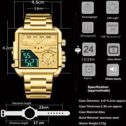 Boamigo relógio masculino ouro e aço inoxidável