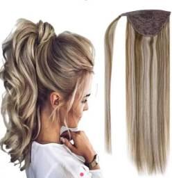 Aplique mega hair rabo de cavalo loiro dourado ondulado