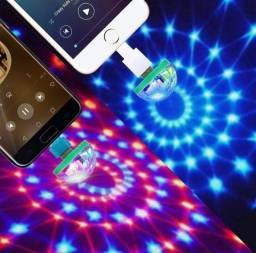 Mini Lâmpada Festa Led Colorida Conecção Usb Bola Maluca para celular