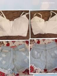 Combo de short jeans tamanho 36 e cropped com bojo
