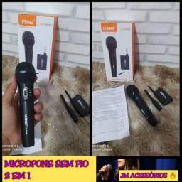 MICROFONE SEM FIO 2 EM 1 POIS PEGA COM CABO E SEM