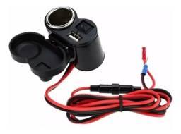 Tomada Moto 12v E 5v Usb P/ Carregador Celular Gps