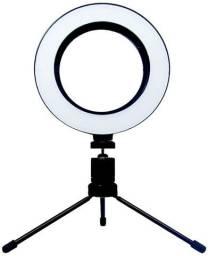 Iluminador Ring Light 16cm Profissional Usb 3500k Com Tripé