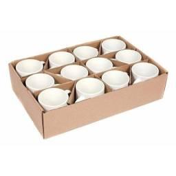 Caixa com 12 canecas de ceramica brancas para sublimação