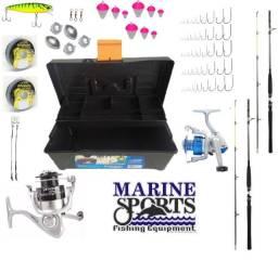 KIT de pesca completo com 2 molinetes e 2 varas (Marine Sports)