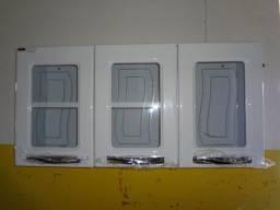 armario aço portas vidro novo