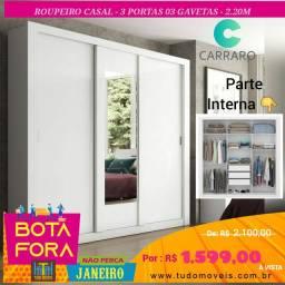 BOTA FORA JANEIRO / ROUPEIRO CARRARO 2.20M COM ESPELHO