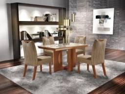 Título do anúncio: (7340) Mesa Frisa 4 cadeiras - whatsapp: 98128=7340