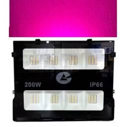 Refletor Holofote Led 200w Luz Rosa Ip66 Profissional
