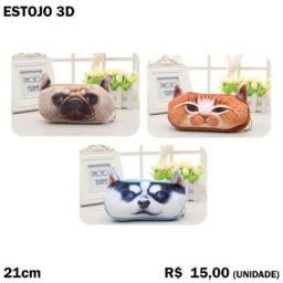 Estojo 3D Gatos e Cachorros de Pelúcia