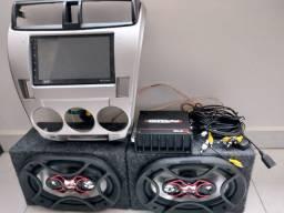 Moldura + multimídia android + caixas 6x9 + amplificador