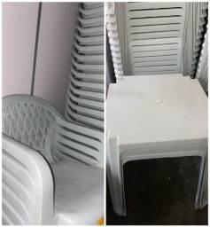 Atacado jogo de mesa com cadeira com braço cor branca nova