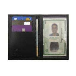 PROMOÇÃO: Carteira Masculina Porta Documento Couro Legitimo Slim cabe RG. CNH