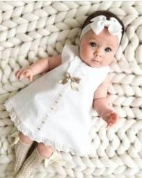 Vestido branco de batizado bebê menina